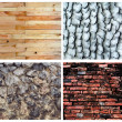 Set of background; stone, brick, wood,cong, concrete — Stock Photo