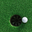 Golf ball near the hole — Stock Photo #10362772