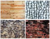Set of background; stone, brick, wood,cong, concrete — Stock Photo