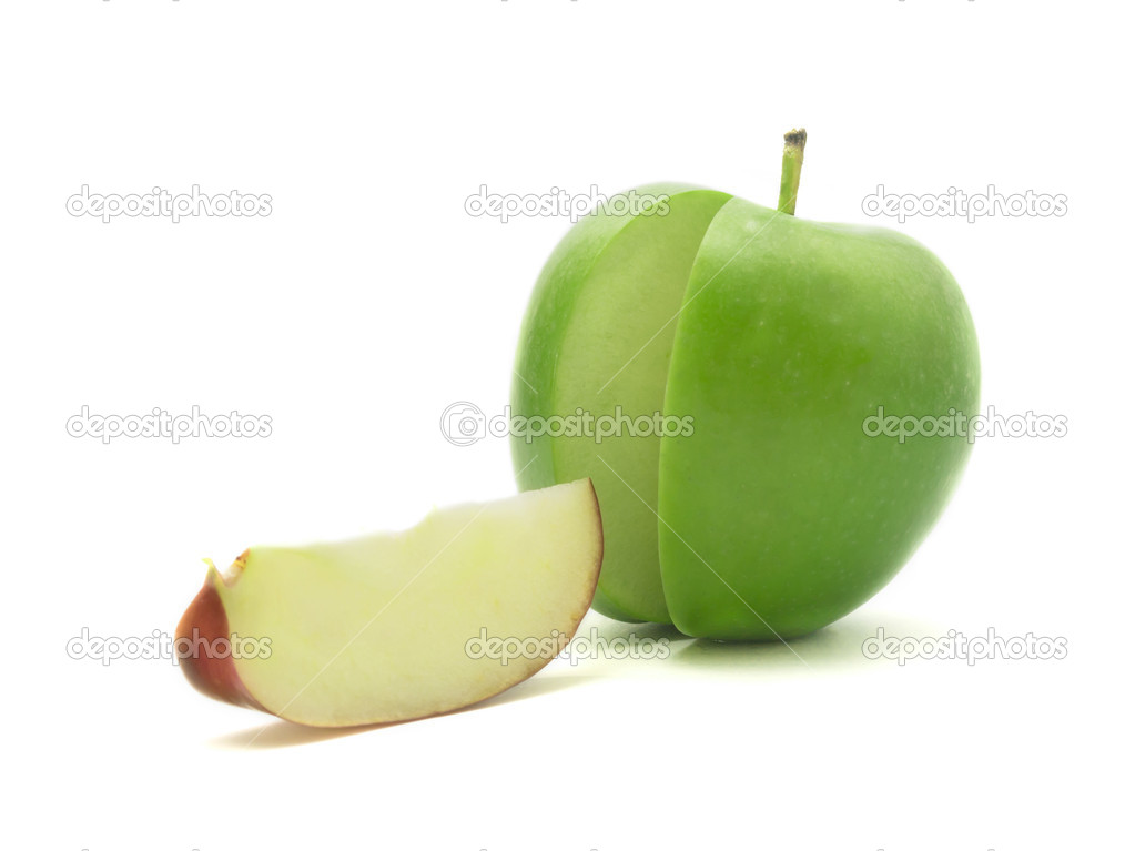 Sliced red and green apple on white background — Stock Photo #10362745