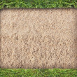Green grass frame on sand background — Stock Photo #9273591