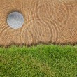 Golf ball drop in water bunker near green grass — Stock Photo