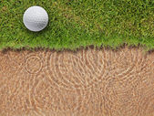 Golf ball on fresh green grass near water bunke — Stock Photo