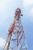 Mobile phone communication tower and sky — Stock Photo