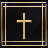 Golden cross, symbol of the Christian faith on the black backgro — Stock Photo