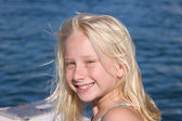 Smiling Blond Girl on Boat — Stock Photo