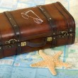 Stock Photo: Old Retro Suitcase, Map, Starfish