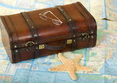 Old Retro Suitcase, Map, Starfish — Stock Photo