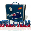 Welcome to New Zealand travel suitcase — Stock Photo