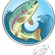 Vector de stock : Fly fishing