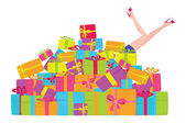Girl and gifts — Stock Vector