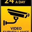 Video surveillance sign - Stok Vektr