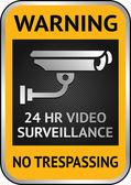 Cctv videobewaking etiket — Stockvector