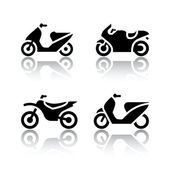 Set of transport icons - motorcycles — Cтоковый вектор