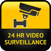 Video surveillance sign, cctv label — Stock Vector