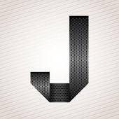 Letter metal ribbon - J — Stock Vector