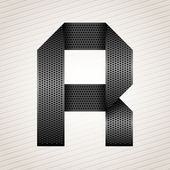 Letter metal ribbon - R — Stock Vector