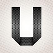 Letter metal ribbon - U — Stock Vector