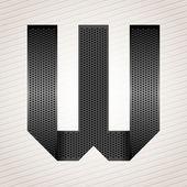 Letter metal ribbon - W — Stock Vector