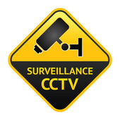 CCTV sign, video surveillance label — Stock Vector