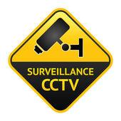 CCTV sign, video surveillance label — Stock Vector
