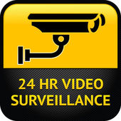 Videobewaking teken, cctv sticker — Stockvector