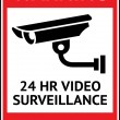 Video surveillance, cctv label — Stock Vector
