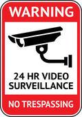 Kameraövervakning, cctv etikett — Stockvektor