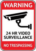 Video surveillance, cctv label — Vettoriale Stock