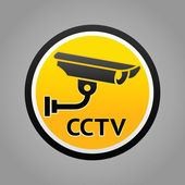 Surveillance camera warning pictogram — Stock Vector