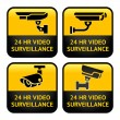 security camera labels, video surveillance, set cctv symbol — Stock Vector