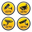 Stock Vector: Security camerpictogram, set CCTV signs