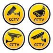 Security camera pictogram, set CCTV signs — Stock Vector
