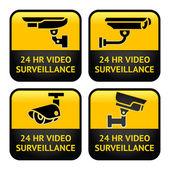 Etiquetas de seguridad cámara, video vigilancia, establecer símbolo de cctv — Vector de stock