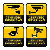 Security camera labels, video surveillance, set CCTV symbol — Stok Vektör