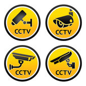 Security camera pictogram, set CCTV signs — Vettoriale Stock