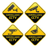 Pictograma de cámara de seguridad, video vigilancia, establece símbolos de circuito cerrado de televisión — Vector de stock