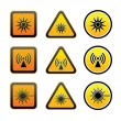 Set hazard warning symbols — Stock Vector