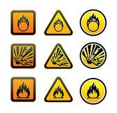 Hazard warning symbols set — Stock Vector