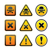 Hazard warning symbols, set — Stock Vector