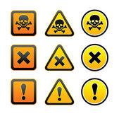 Tehlike uyarı sembolleri, ayarla — Stok Vektör
