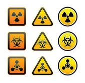 Set hazard warning radiation symbols — Stock Vector