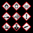 New safety symbols Hazard signs Black background — Stock Vector #7972165