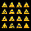 Stock Vector: Set triangular warning signs Hazard symbols