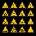 Set triangular warning signs Hazard symbols — Stock Vector