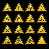 Set triangular warning signs Hazard symbols — Stock Vector