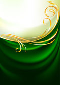 Green fabric curtain, background — Stock Vector