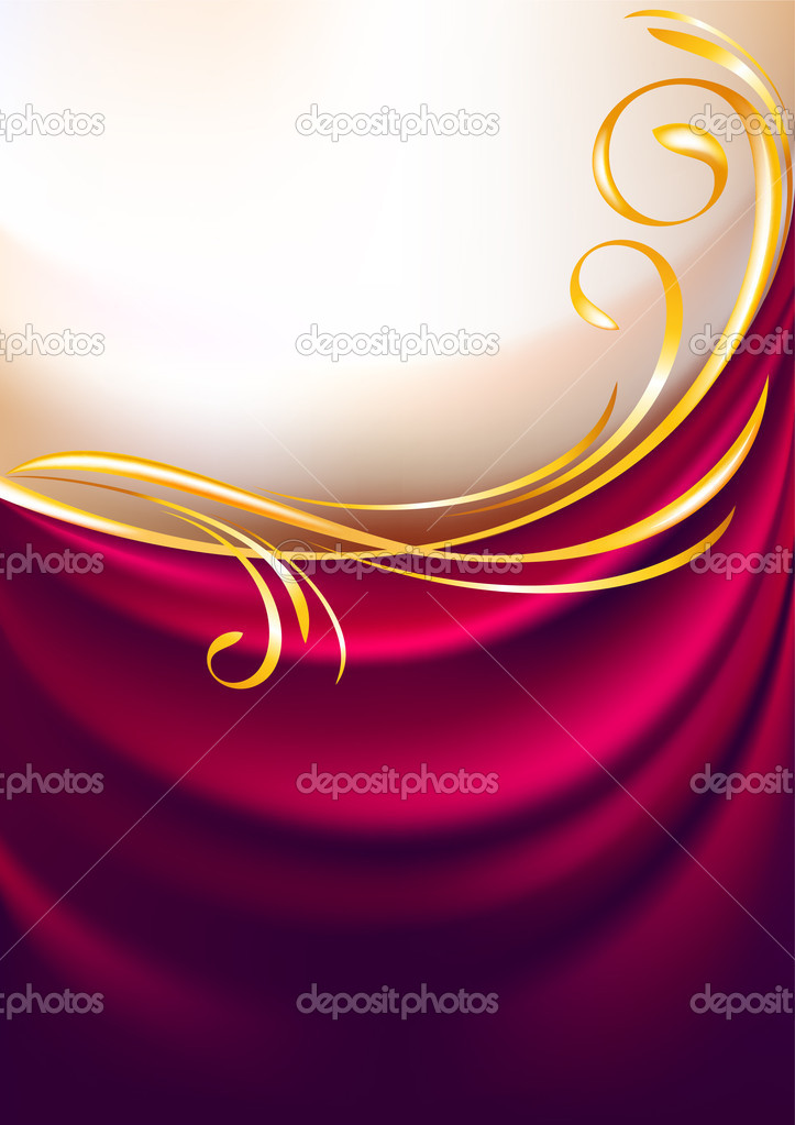 Pink fabric curtain, background. Gold vignette — Stock Vector #8076775