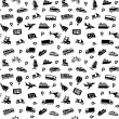 Seamless background, transport icons, wallpaper — Stock Vector
