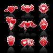 Set icons of Valentine's day red hearts — Stock Vector #8224089